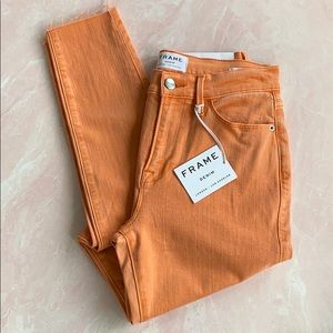 FRAME Le High Skinny Jean in Orange Crush Sz 28